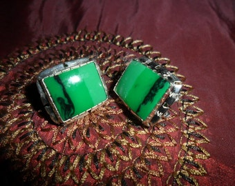 Mexican Sterling Silver and Mohave Lime Green Earrings