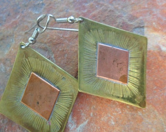 Vintage Brass and Copper Earrings