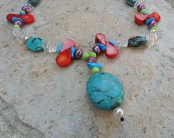 Turquoise and Multi Color Beaded Necklace
