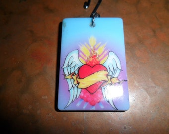 Sacred Heart Domino Pendant