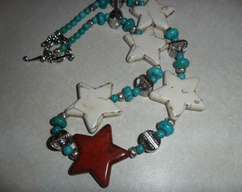 Red and White Howlite Stars with Turquoise and Sterling Silver stone Handmade Necklace