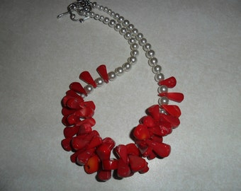 Red Coral and White Pearl Handmade Necklace