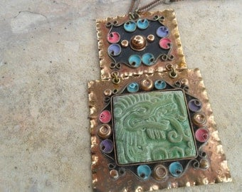 Mexican Green Dragon and Copper Large Pendant Vintage Necklace