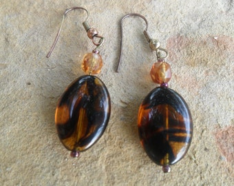 Gold abd Brown Handmade Dangle Earrings