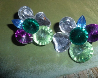 Bright Rhinestone Flower Clip on Earrings1960's