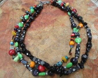 Handmade Black and  Bright Colored BeadsThree Strand Necklace