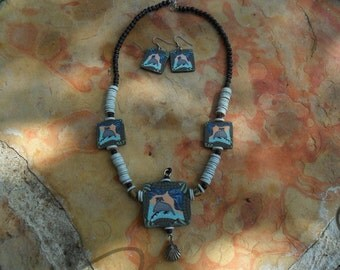 Eclectic Quail Design Necklace and Earring Set