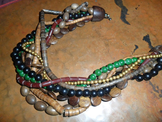 Vintagw Wooden Bead Necklace