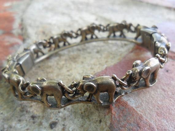 Brass Elephant Bangle Bracelet Vintage
