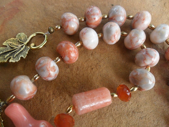 Red Line Marble and  Branch Coral Handmade Necklace