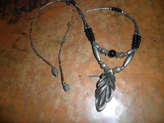 Vintage Liquid Silver Necklace with Leaf Pendant