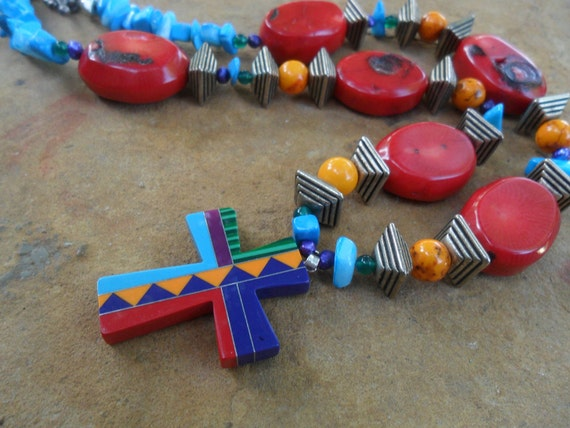 Indian  Design Southwest Cross necklace