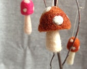 Needle Felted Toadstool Mushrooms-One ornament