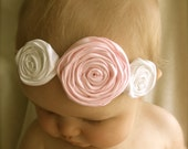 Pink and White Rosette Baby Headband