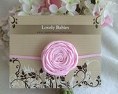 Light Pink Rosette Baby Headband Toddler Headband