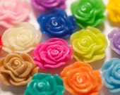 Large Bulk Mixed Color Flower Cabochons, Flat Back Embellishment, Rose Shaped, 13mm (R1-037/053)