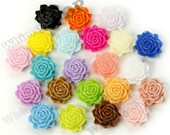 100 - MIXED Colors Bloomin' Rose Small Resin Cabochons, Rose Cabochons, Flower Cabochons, Flatback Roses, 12mm x 11mm (R2-021)