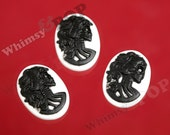 10 -  White and Black Classic Cameo Lady Skull Cabochon, Deco Resin Skeleton Cabochons, 25MM x 18MM (R1-204)