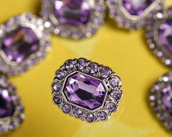Purple Gem Acrylic Buttons,  Rhinestone Button, Shank Buttons, 25mm (R6-114)