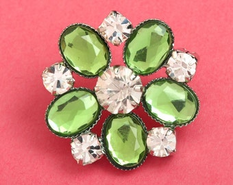 2 - Green Acrylic and Glass Buttons, Rhinestone Shank Buttons, 24mm (R6-118)