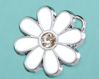 1 - White Daisy Flower Charm, Flower Power Enamel and Rhinestone Charm (4-2E)