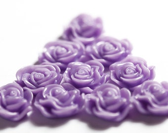 Lavender Purple Flower Cabochons, Flower Cabs, Rose Shaped, Flat Back Flowers, Flatbacks, Embellishments, Glue On Decorations, 13mm (R1-041)
