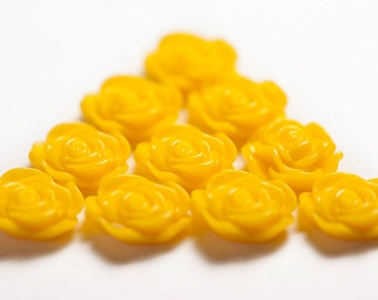 Yellow Flower Cabochons, Rose Shaped, 13mm (R1-046)