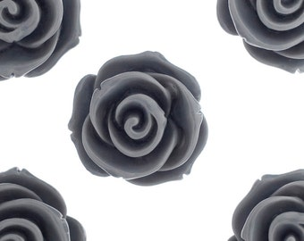 23mm - Large Smoky Gray Rose Cabochons, Flower Cabochons, Flower Cabs, Rose Shaped, Chunky Rose Flatbacks, 23mm Rose Cabochons (R5-017)