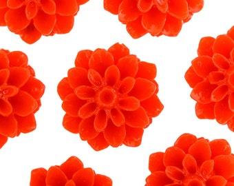 15mm - Cherry Red Chrysanthemum Flower Cabochons, Flower Cabs, Dahlia Flatbacks, Mum Shaped, Flat Back Mums, Glue On Flowers (R3-104)