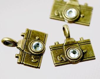 3 - Antique Bronze Rhinestone Camera Charms (R5-226)