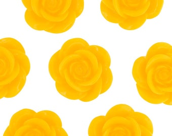 Large Sunny Yellow Flower Cabochons, Flower Cabs, Flower Shaped, 18mm (R8-035,C2-09) - Sold in Packs of 10, 20, or 30 Pieces
