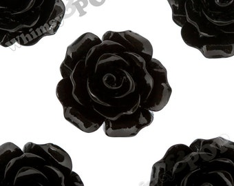 Large Detailed Black Rose Deco Resin Cabochons, Flower Shaped, Flatback Roses, Flat Back Roses, Flower Cabochons, Flower Cabs, 20mm (R1-019)