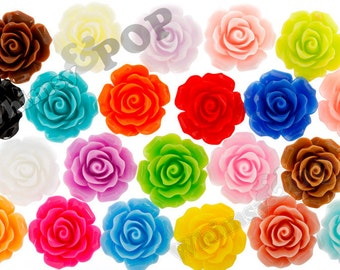 Large Detailed MIXED Colors Rose Deco Resin Cabochons, Flower Cabochons, Flower Cabs, 20mm Rose Cabochons (R1-001-024)