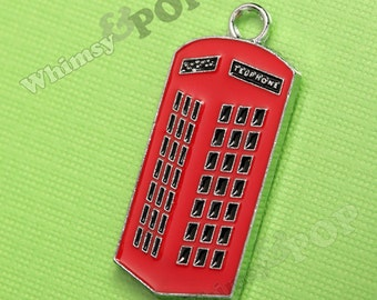 1 - London Red Phone Booth Enamel Charm (1-6C)