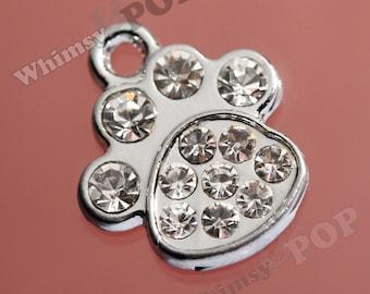 1 - Puppy Paw Rhinestone Crystal Silver Tone Charm, Animal Paw Charm, Dog Paw Charm (1-2D)