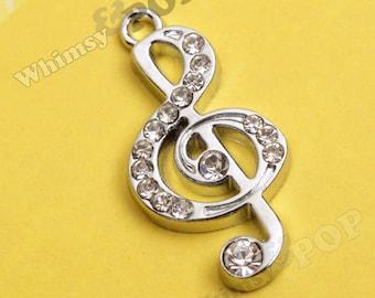 1 - Treble Clef Musical Note Rhinestone Charm, Music Charm, Treble Clef Charm, Note Charm, Music Pendant (1-2G,C1-02)