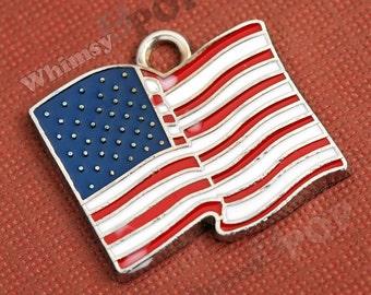 Red White and Blue American Flag USA Enamel Charm, USA Flag Charm, Flag Charm (2-3H)