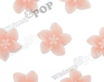Pale Peach Lily Flowers, Flower Cabochons, Flat Back Embellishment, Lily Cabochon, 13mm x 5mm (R2-097)
