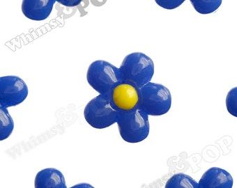13mm - Royal Blue Baby Daisy Flower Cabochons, Daisy Shaped, Daisy Cabochons, Daisy Flatbacks, 13mm x 4mm (R1-151)