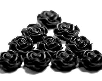 Black Flower Cabochons, Rose Shaped, 13mm (R1-044)