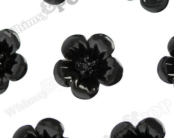 Black Hibiscus Flower Cabochons, Flower Cabs, Hibiscus Cabochon, Flower Shaped, 13mm x 5mm (R2-049)