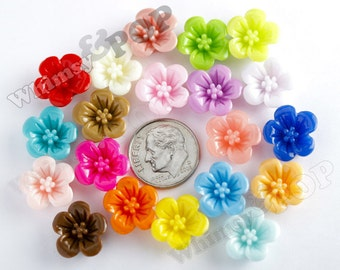 100 - Mixed Colors Hibiscus Flower Resin Cabochons, Flower Shaped, 13 mm x 13 mm x 5 mm (R2-038)