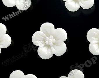 White Hibiscus Flower Cabochons, Flower Cabs, Hibiscus Cabochon, Flower Shaped, 13mm x 5mm (R2-052)