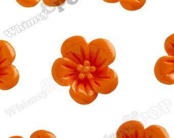 Mandarine Orange Hibiscus Flower Cabochons, Flower Cabs, Flat Back Embellishment, Hibiscus Cabochon, Flower Shaped, 13mm x 5mm (R2-053)
