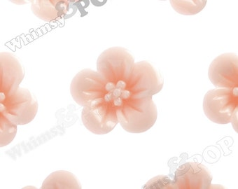 Shabby Chic Peach Hibiscus Flower Cabochons, Flower Cabs, Hibiscus Cabochon, Flower Shaped, 13mm x 5mm (R2-045)
