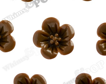 Chocolate Brown Hibiscus Flower Cabochons, Flower Cabs, Hibiscus Cabochon, Flower Shaped, 13mm x 5mm (R2-051)