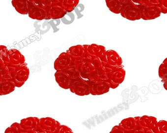10 - Red Flower Flower Cameo Resin Cabochons, Oval Shaped, 18mm x 13mm (R2-106)