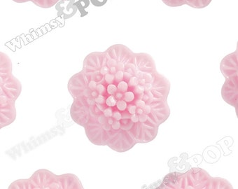 10 - Light Pink Round Flower Cameo Resin Cabochons,  Flower Cabochons, Flower Bunch, Flower Bouquet, Flower Shaped, 20mm (R2-068)