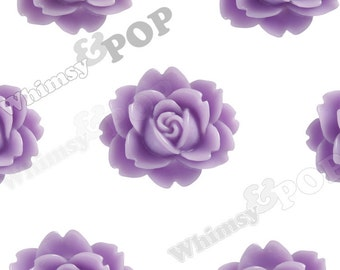 Lavender Purple Cabbage Rose Cabochons, Flower Cabochons, Flower Shaped, Flatback Flowers, Flat Back Cabochons, 18mm x 16mm (R3-007)