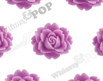 Lilac Purple Cabbage Rose Cabochons, Flower Cabochons, Flat Back Embellishment, Flower Shaped, 18mm x 16mm (R3-007)